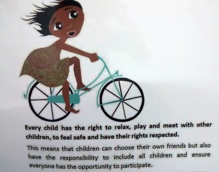 Every child has the right to relax, play and meet with other children, to feel safe and have their rights respected.
