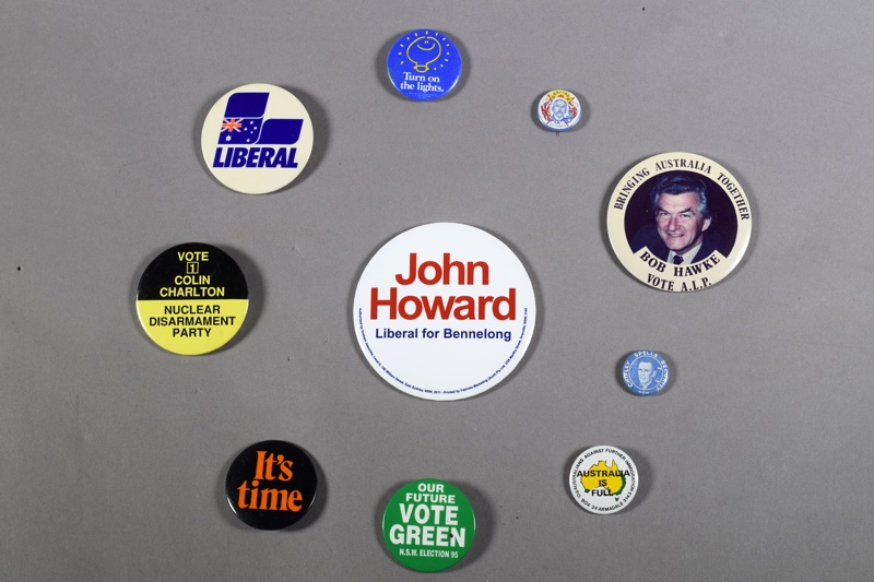 A group of political badges