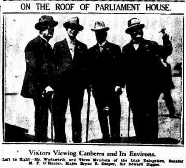 An image showing visitors on the roof of Parliament House.