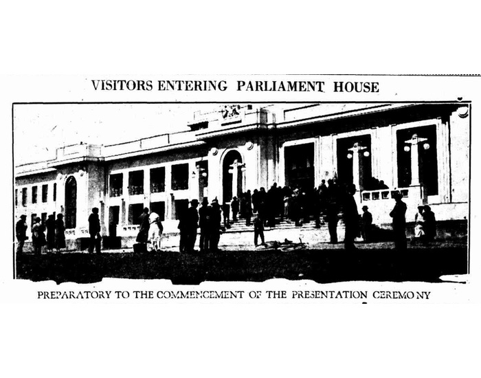 Image of the ceremony for the Speaker's Chair from the Canberra Times, 14 October 1926.