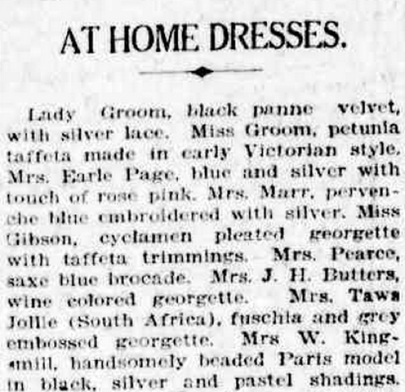 An excerpt from the Canberra Times describing dresses worn at the 'At Home' hosted at Hotel Canberra.