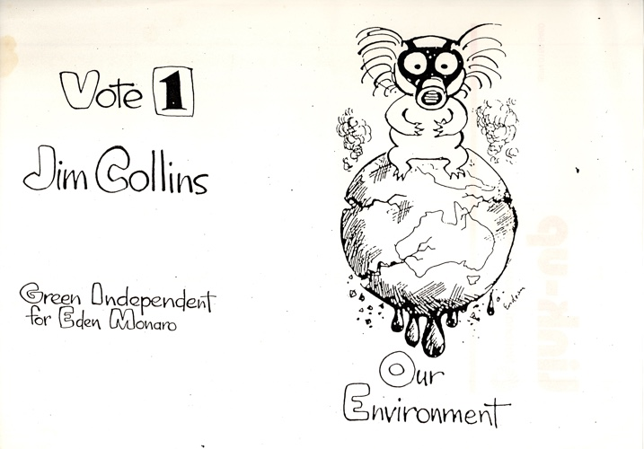 A hand-drawn flyer for a Green Independent candidate from 1990
