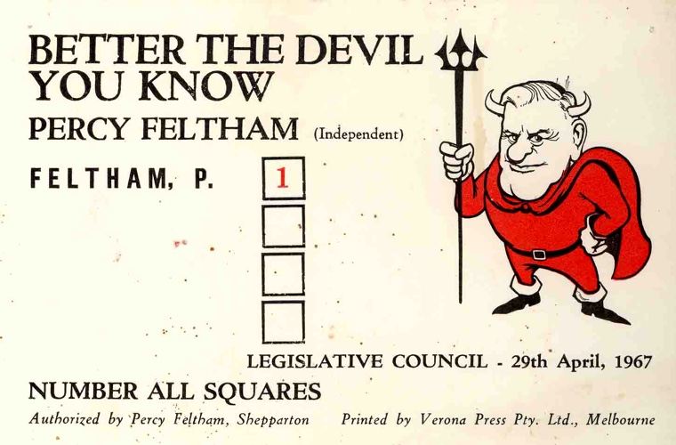 1967 How to Vote card for Victorian upper house member Percy Feltham