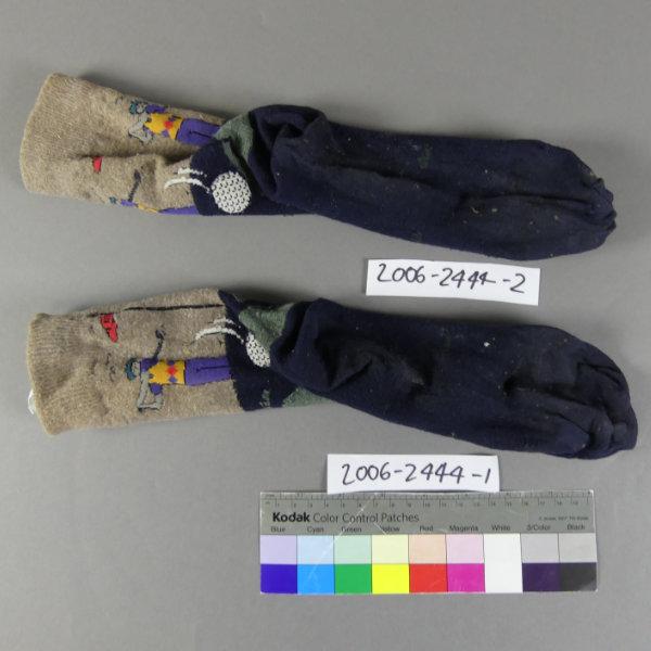 Neville Bonner's socks before conservation cleaning