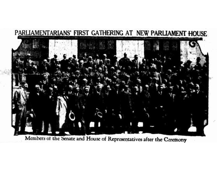 An image of Parliamentarians on the front steps of Parliament House after the ceremony.