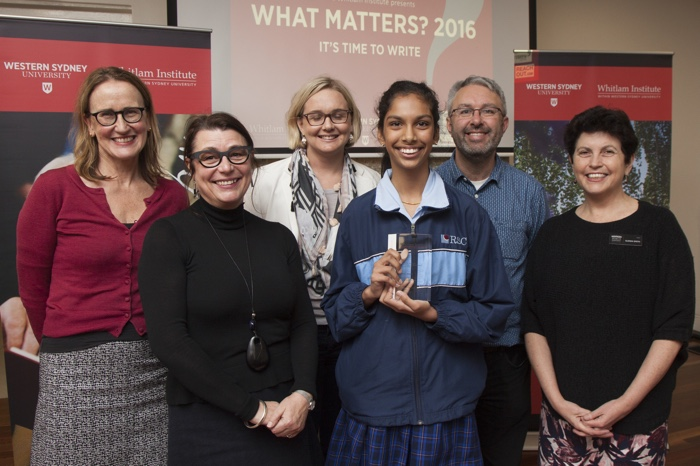 What Matters 2016 Year 7/8 winner and overall winner with staff