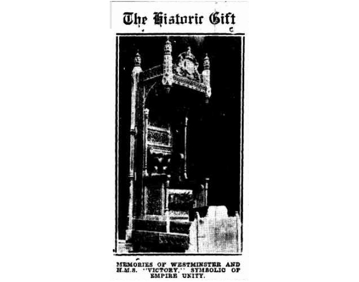 Image of the Speaker's Chair from the Canberra Times, 14 October 1926